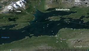 Akkajaure, början på Stora Lulevatten. Akka-massivet, Vaisaluokta sameby, Ritsem.